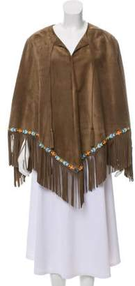 Blood & Honey Suede Fringe Poncho w/ Tags Olive Blood & Honey Suede Fringe Poncho w/ Tags