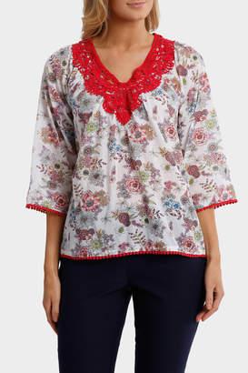 Regatta Floral Crochet Trim 3/4 Sleeve Top