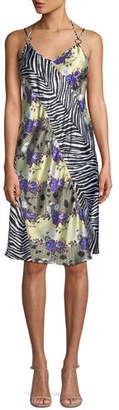 Opening Ceremony Sleeveless Floral Zebra Silk Dress