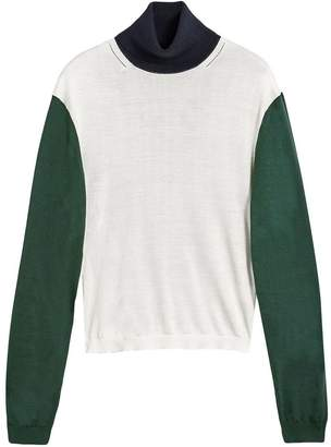Burberry Colour-block Silk Cashmere Roll-neck Sweater