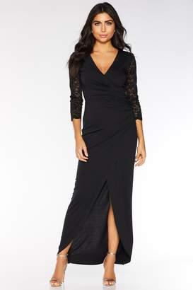 495085243bc Quiz Black Sequin Lace 3/4 Sleeve Maxi Dress