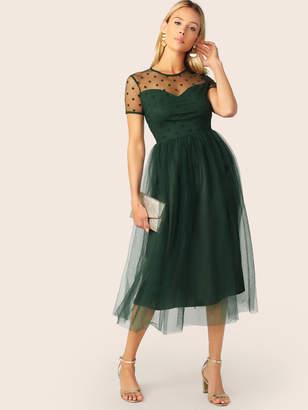 Shein Sheer Shoulder Mesh Overlay Flare Dress