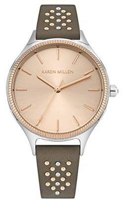 Karen Millen Women's Quartz Brass and Leather Watch
