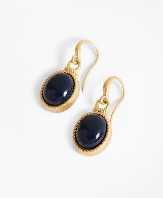 Brooks Brothers Gold-Plated Cabochon Drop Earrings