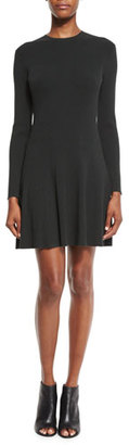 A.L.C. Miriam Long-Sleeve Fit-and-Flare Jersey Dress, Black $445 thestylecure.com