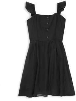 Un Deux Trois Girl's Chiffon Ruffle A-Line Dress