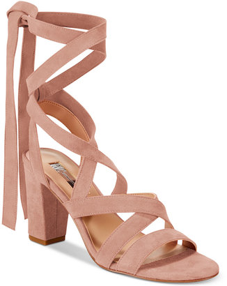 INC International Concepts Kailey Lace-Up Block-Heel Sandals, Only at Macy's $99.50 thestylecure.com