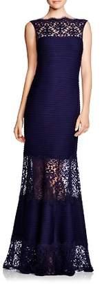 Tadashi Shoji Sleeveless Lace & Pintuck Gown
