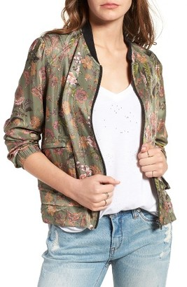 Women's Blanknyc Floral Print Tencel Bomber Jacket $98 thestylecure.com