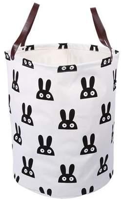 Laundry by Shelli Segal WALFRONT Large Hamper Bin Bucket Storage Basket Canvas Handbag Basket Storage Bag w/ Leather Handles(Rabbit)