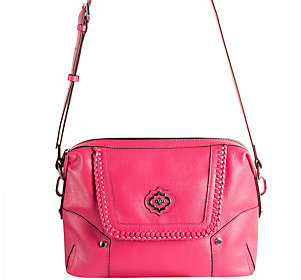 As Is orYANY Pebble Leather Crossbody w/ Whipstitch Detail - Lacy