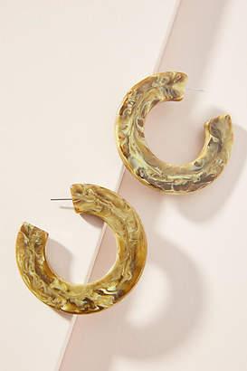 Anthropologie Marbled Resin Hoop Earrings