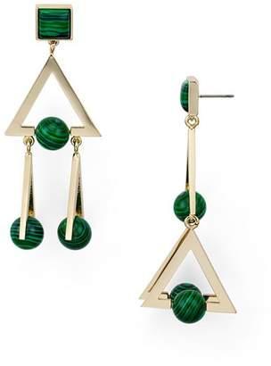 Tory Burch Triple Triangle Stone Drop Earrings