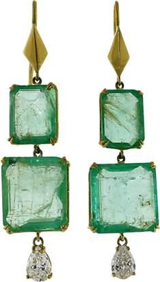 SYLVA & CIE Emerald and Pear Shape Diamond Earrings