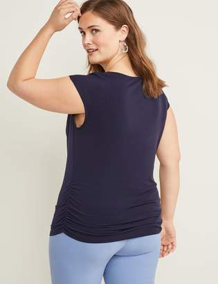 Lane Bryant Matte Jersey Ruched-Side Cowl-Neck Top