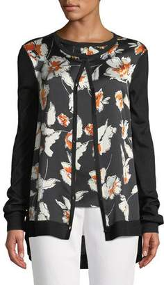 St. John Jersey Knit Cardigan w/ Floral-Print Silk Front