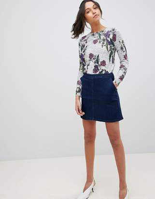 Oasis Seam Detail A-Line Mini Denim Skirt