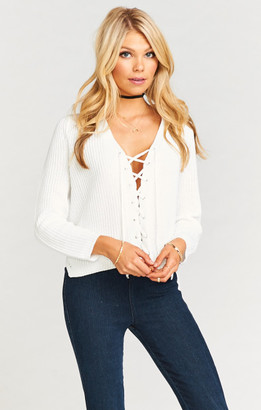 Lacey Lace Up Sweater ~ White Knit $118 thestylecure.com