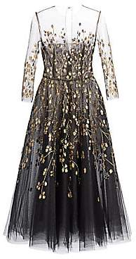 Oscar de la Renta Women's Embellished Illusion Fit-&-Flare Cocktail Dress