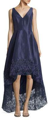 Betsy & Adam Sleeveless Hi-Lo Embroidered Gown
