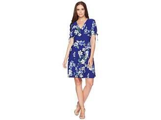 Chaps Floral-Print Jersey Dress Women's Dress