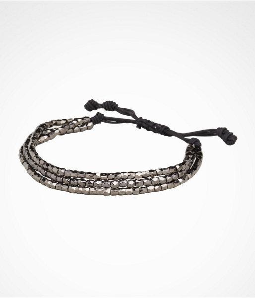 Triple-Row Beaded Leather Bracelet