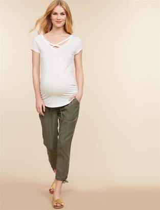 Jessica Simpson Motherhood Maternity Under Belly Twill Slim Leg Maternity Crop Pants