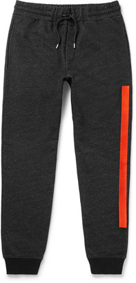 McQ Alexander McQueen Slim-Fit Embroidered Loopback Cotton-Blend Jersey Sweatpants $315 thestylecure.com