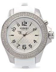 Swarovski KYBOE Power Radiant Silver Crystal, Stainless Steel& White Silicone Strap Watch/48MM