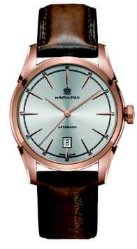 Hamilton Timeless Classic Spirit Of Liberty Auto Rose-Goldtone Stainless Steel& Leather Strap Watch