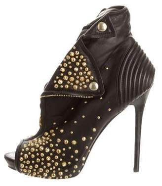 Alexander McQueen Leather Studded Faithful Peep-Toe Booties Black Leather Studded Faithful Peep-Toe Booties