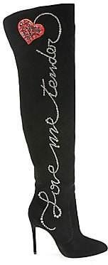 Aquazzura Women's Cupid Over-The-Knee Velvet Boots