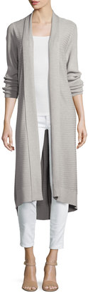 Neiman Marcus Ribbed-Knit Duster Cardigan, Gray $79 thestylecure.com
