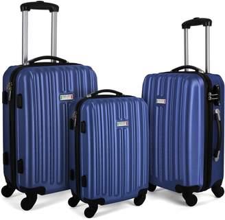 Milano ABS Luxury Shockproof Luggage 3 Piece Set Blue