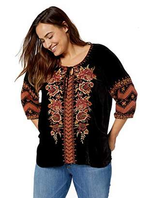 Johnny Was JWLA By Women's Size Plus Embroidered Peasant Blouse