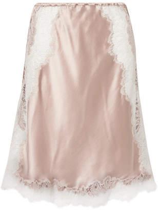Carine Gilson Chantilly Lace-trimmed Silk-satin Slip Skirt - Blush