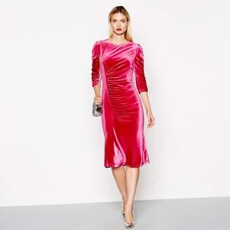 Preen Studio by Pink Ruched Velvet Midi Length Dress