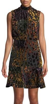 Saloni Fleur Short Dress In Rainbow Leopard