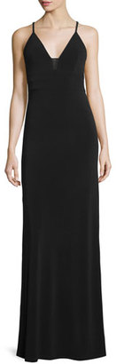 Alice + Olivia Sleeveless Sheer-Inset Maxi Dress, Black $330 thestylecure.com