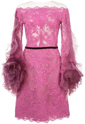 Marchesa off-the-shoulder lace dress