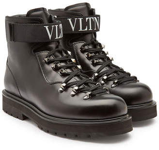 Valentino Leather Ankle Boots with Studs