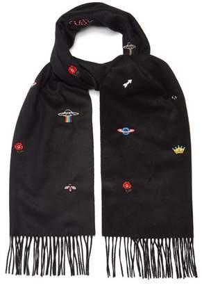 Gucci - Embroidered Print Scarf - Mens - Black Multi