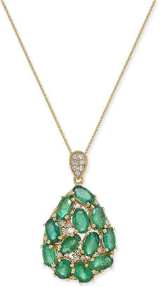 Macy's Emerald (3 ct. t.w.) and Diamond (1/8 ct. t.w.) Pendant Necklace in 14k Gold, Created for