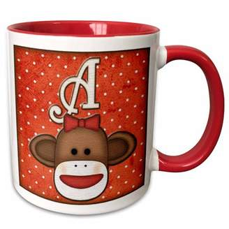 3dRose Cute Sock Monkey Girl Initial Letter a - Two Tone Red Mug, 11-ounce