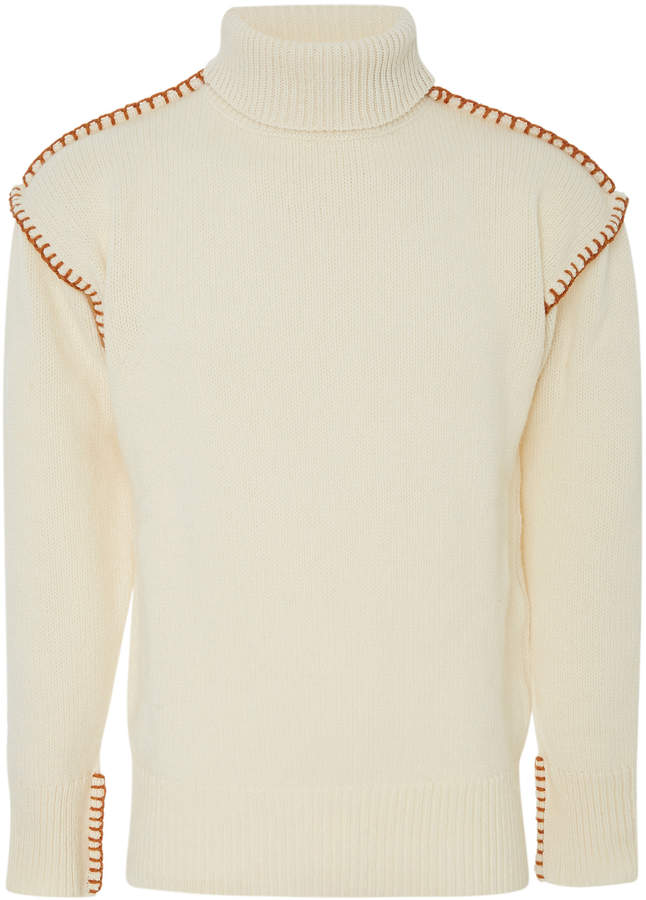 Loewe Topstitched Wool Turtleneck Sweater