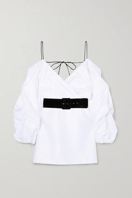Rasario Cold-shoulder Belted Satin Mini Dress - White
