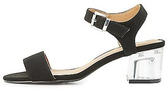 Qupid Two-Piece Lucite Heel Sandals $32.99 thestylecure.com