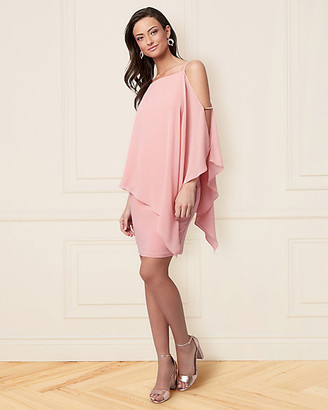 Le Château Chiffon Cold Shoulder Cape Dress