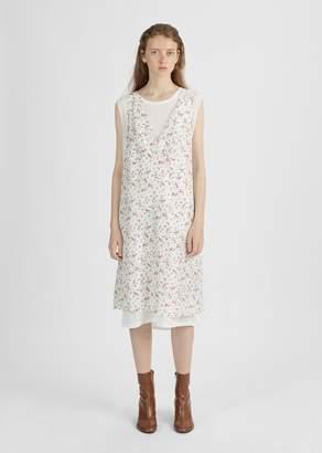 R 13 Overlay Slip Dress Mini Rose Print