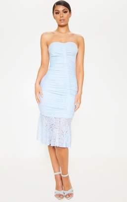 PrettyLittleThing Yellow Ruched Lace Asymmetric Hem Bandeau Midi Dress